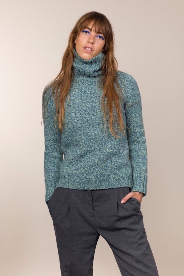 Fisherman Out of Ireland Donegal Fleck Polo Neck Sweater