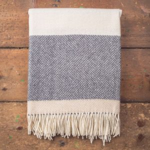 Foxford Wool/Cashmere Throw - Oxford, Bone & White Stripe